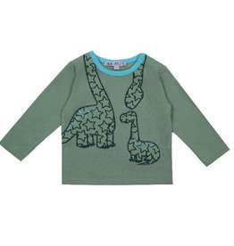 Enfant Terrible Shirt, grijsgroen, dino (0-2j)