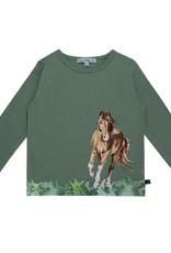 Enfant Terrible Enfant Terrible - shirt, grijsgroen, paardengalopprint (3-16j)
