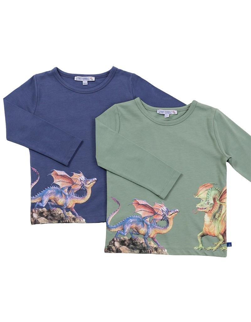 Enfant Terrible Enfant Terrible - shirt, blauwgrijs, drakenprint (3-16j)