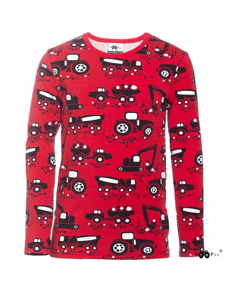 Paapii Paapii - shirt, nooa, red, machines (3-16j)