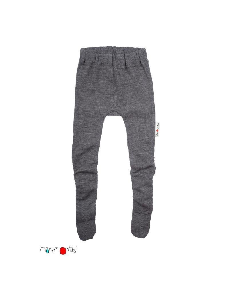 ManyMonths ManyMonths - legging, met voetjes, wol, bright silver (0-2j)