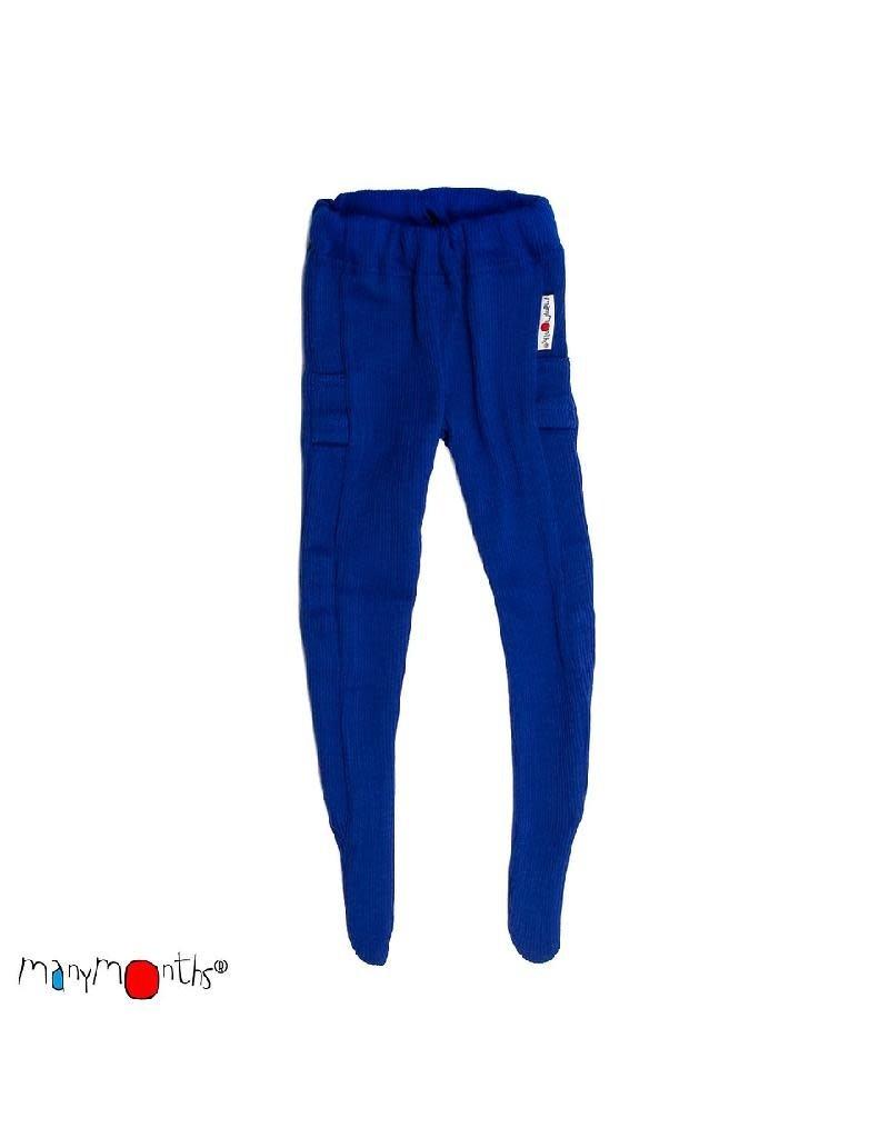 ManyMonths ManyMonths - legging, met voetjes, wol, jewel blue (0-2j)