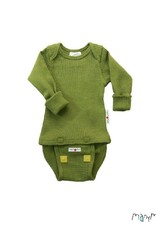 ManyMonths ManyMonths - body/shirt, ls, wol, garden moss green (0-2j)