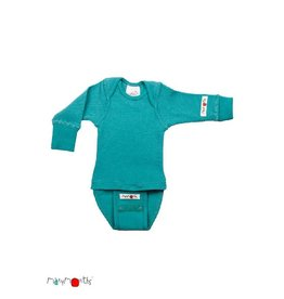 ManyMonths Body/shirt, ls, wol, royal turquoise (0-2j)
