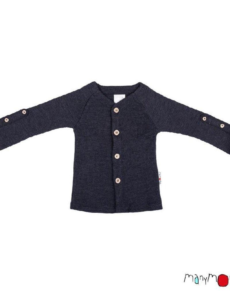 ManyMonths ManyMonths - cardigan, adjustable sleeves, foggy black (3-16j)