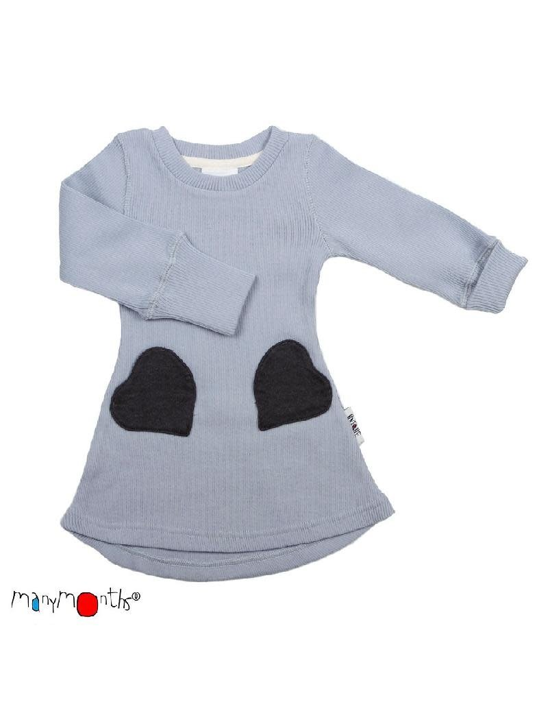 ManyMonths ManyMonths - jurk, heart pocket, ls, wol, bright silver (0-2j)