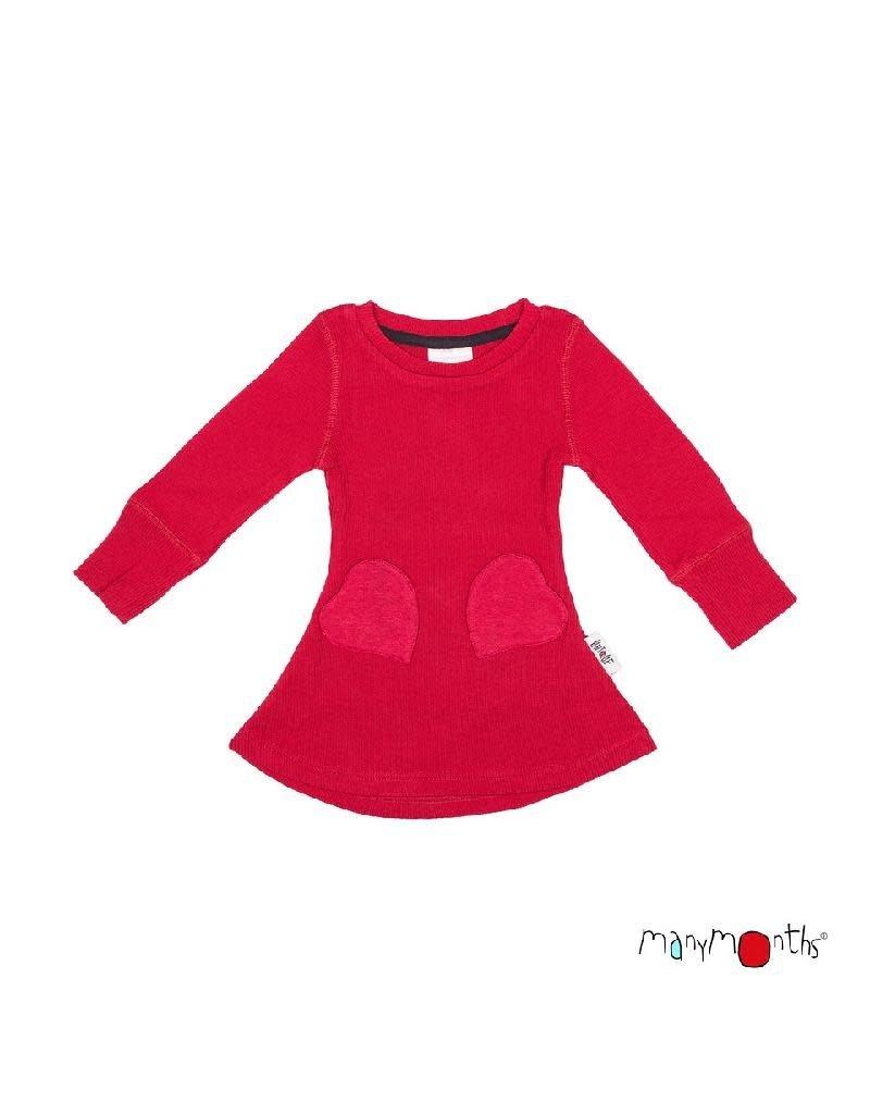 ManyMonths ManyMonths - jurk, heart pocket, ls, wol, cranberry nectar (0-2j)