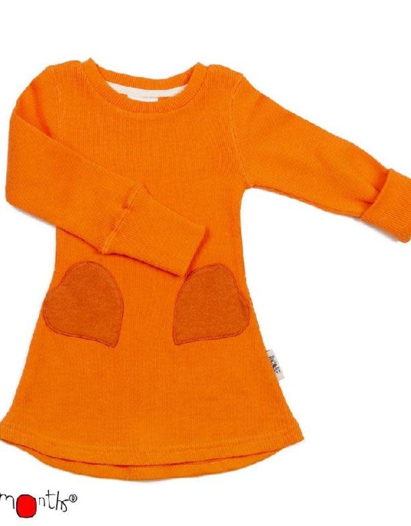 ManyMonths ManyMonths - jurk, heart pocket, ls, wol, festive orange (3-16j)