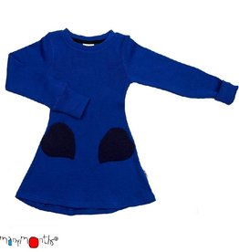 ManyMonths Jurk, heart pocket, ls, wol, jewel blue (0-2j)