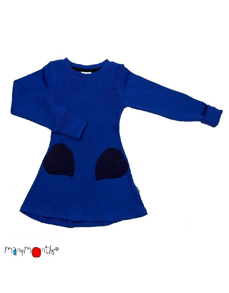 ManyMonths ManyMonths - jurk, heart pocket, ls, wol, jewel blue (0-2j)
