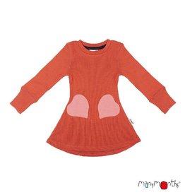 ManyMonths Jurk, heart pocket, ls, wol, rooibos red (3-16j)