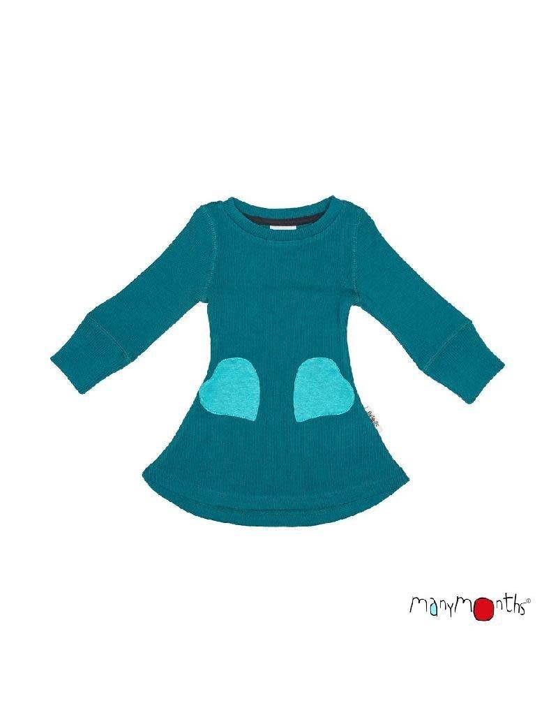 ManyMonths ManyMonths - jurk, heart pocket, ls, wol, ocean wave (0-2j)