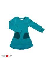 ManyMonths ManyMonths - jurk, heart pocket, ls, wol, royal turquoise (0-2j)