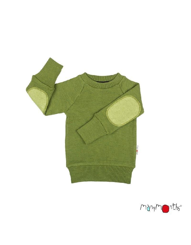 ManyMonths ManyMonths - trui, met elleboogstukken, wol/hennep, garden moss green (3-16j)