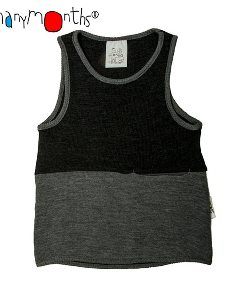 ManyMonths ManyMonths - tanktop, pocket, wol, foggy black with silver grey (3-16j)