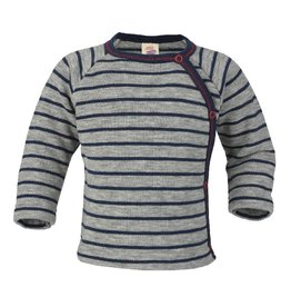 Engel Engel - trui, kimono, wol badstof, lichtgrijs melange/marine (0-2j)