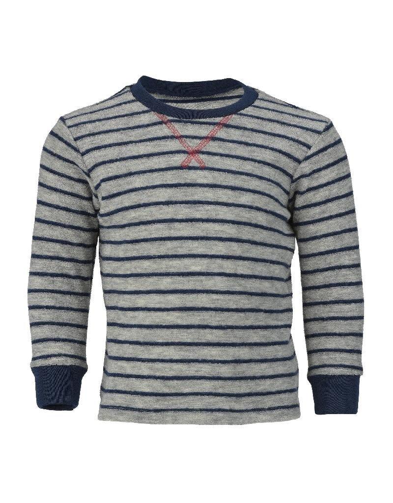 Engel Engel - pyjamatrui/sweater, badstof, wol, lichtgrijs melange/marine (3-16j)