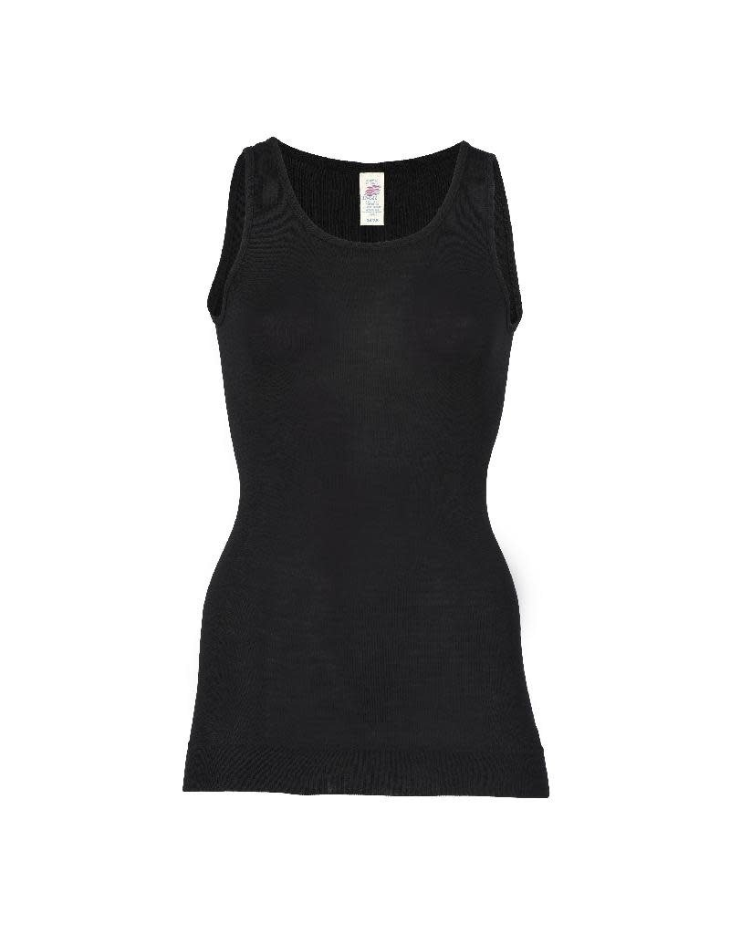 Engel Engel Woman - onderhemd, sl, lang, wol/zijde, zwart