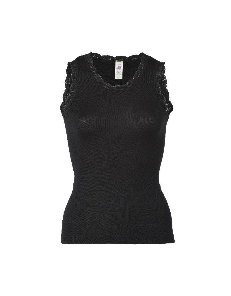 Engel Engel Woman - onderhemd met kant, sl, wol/zijde, zwart
