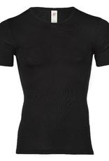 Engel Engel Man - onderhemd, ss, wol/zijde, zwart