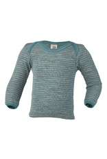 Engel Engel - onderhemd, ls, wol/zijde, grijs melange/ijsblauw (0-2j)