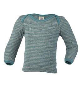 Engel Onderhemd, wol/zijde, grijs melange/ijsblauw (0-2j)