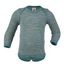 Engel Body, ls, wol/zijde, grijs/ijsblauw (0-2j)