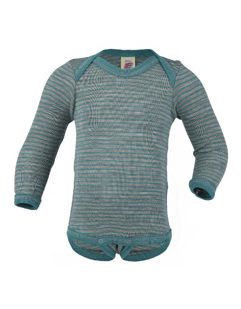 Engel Engel - body, ls, wol/zijde, grijs/ijsblauw (0-2j)