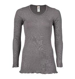 Engel Pyjamashirt, lang, wol/zijde, taupe