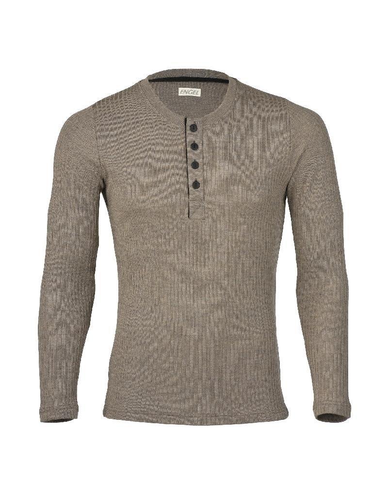 Engel Engel Man - shirt, knoopjes, wol/zijde, walnoot