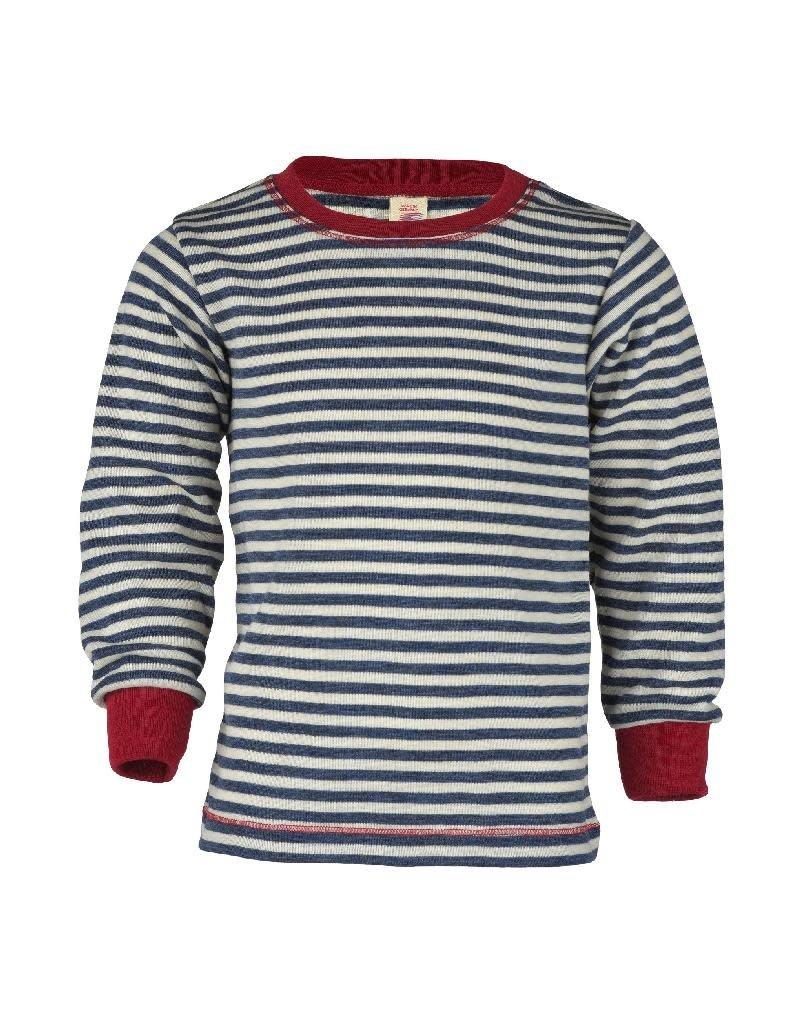 Engel Engel - shirt, wol, blauw melange/natuur (3-16j)