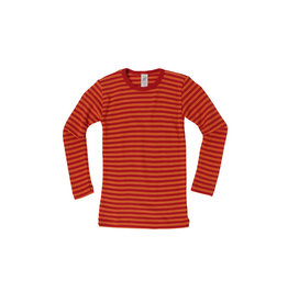 Engel Onderhemd, ls, wol/zijde, kersenrood/oranje (3-16j)