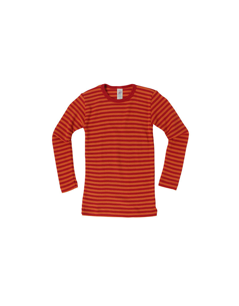 Engel Engel - onderhemd, ls, wol/zijde, kersenrood/oranje (3-16j)