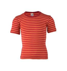 Engel Onderhemd, ss, wol/zijde, kersenrood/oranje (3-16j)