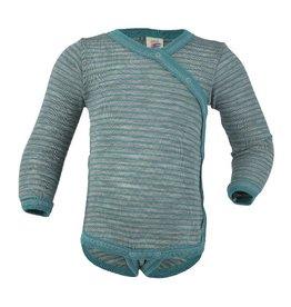 Engel Kimonobody, wol/zijde, grijs/ijsblauw (0-2j)