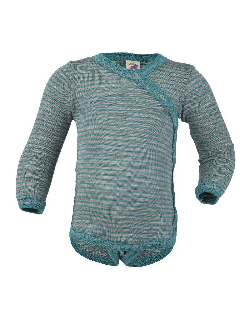 Engel Engel - body, ls, kimono, wol/zijde, grijs/ijsblauw (0-2j)