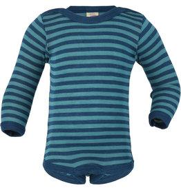 Engel Body, ls, wol/zijde, oceaanblauw/ijsblauw (0-2j)
