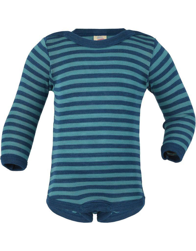 Engel Engel - body, ls, wol/zijde, oceaanblauw/ijsblauw (0-2j)