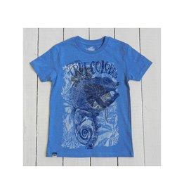 Lion of Leisure T-shirt, blue melange, chameleon (3-16j)