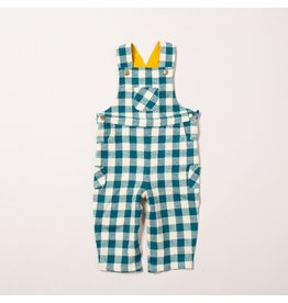 Little Green Radicals Winter blue check classic dungarees (0-2j)
