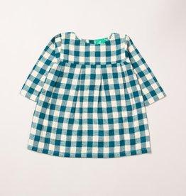 Little Green Radicals Winter blue check smock dress (0-2j)