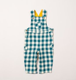 Little Green Radicals Winter blue check classic dungarees (3-16j)