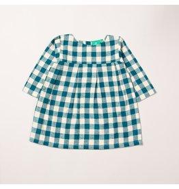 Little Green Radicals Winter blue check smock dress (3-16j)