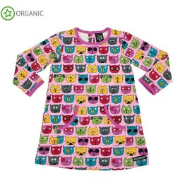 Villervalla Dress w pocket, ls, lotus, cool cats (0-2j)