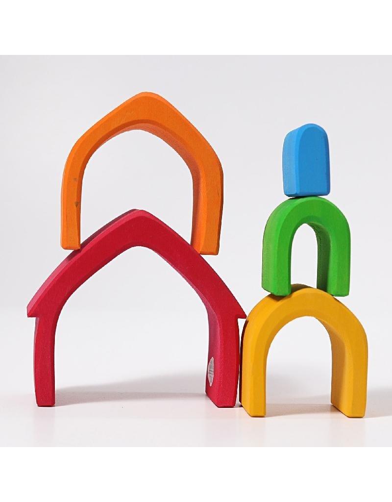 Grimm's Grimm's - bouwset, huis, regenboogkleuren, 5-delig