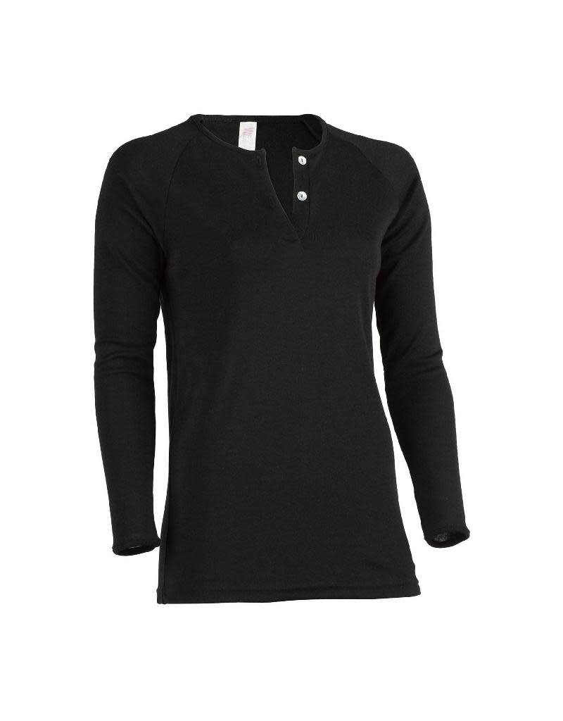 Engel Engel Woman - shirt met 2 knoopjes, wol/zijde, zwart