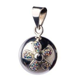 Bola Zwangerschapsbelletje, zilver met glitter bloem