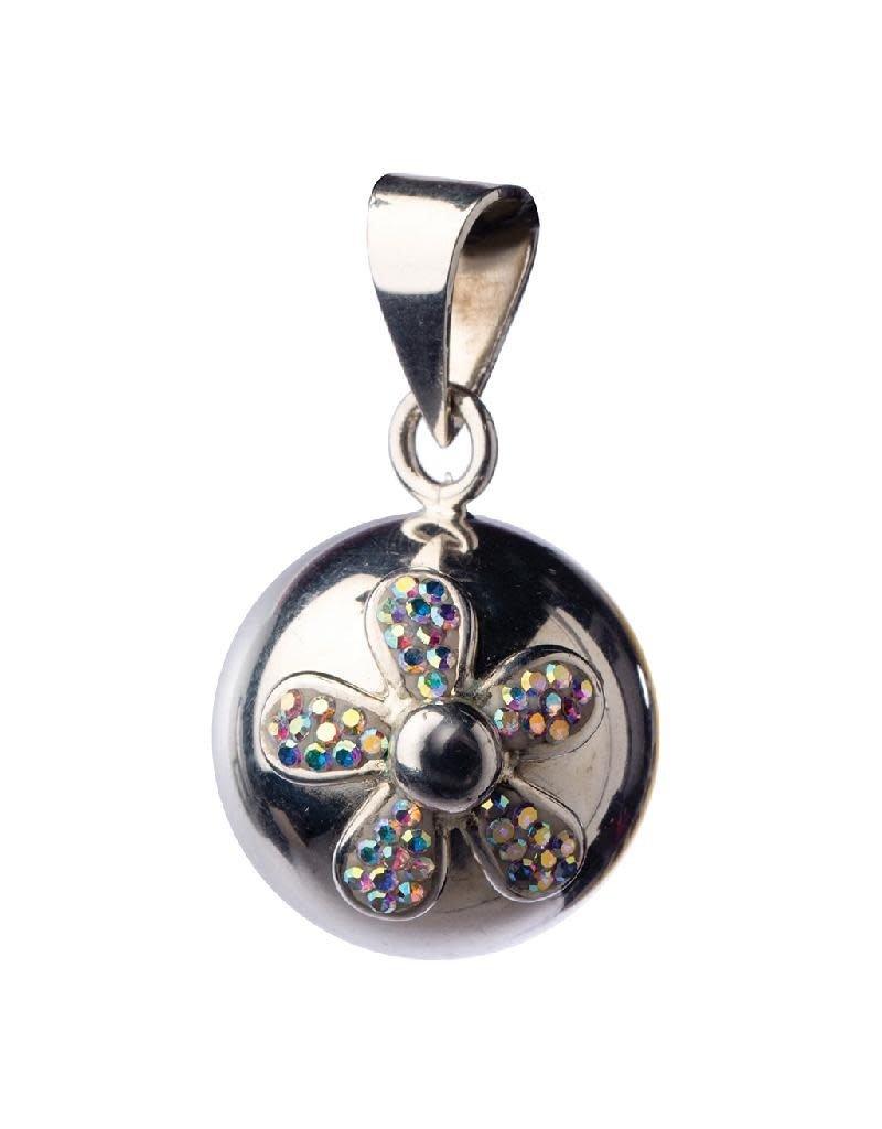 Bola Bola - zwangerschapsjuweel, belletje, zilver met glitter bloem