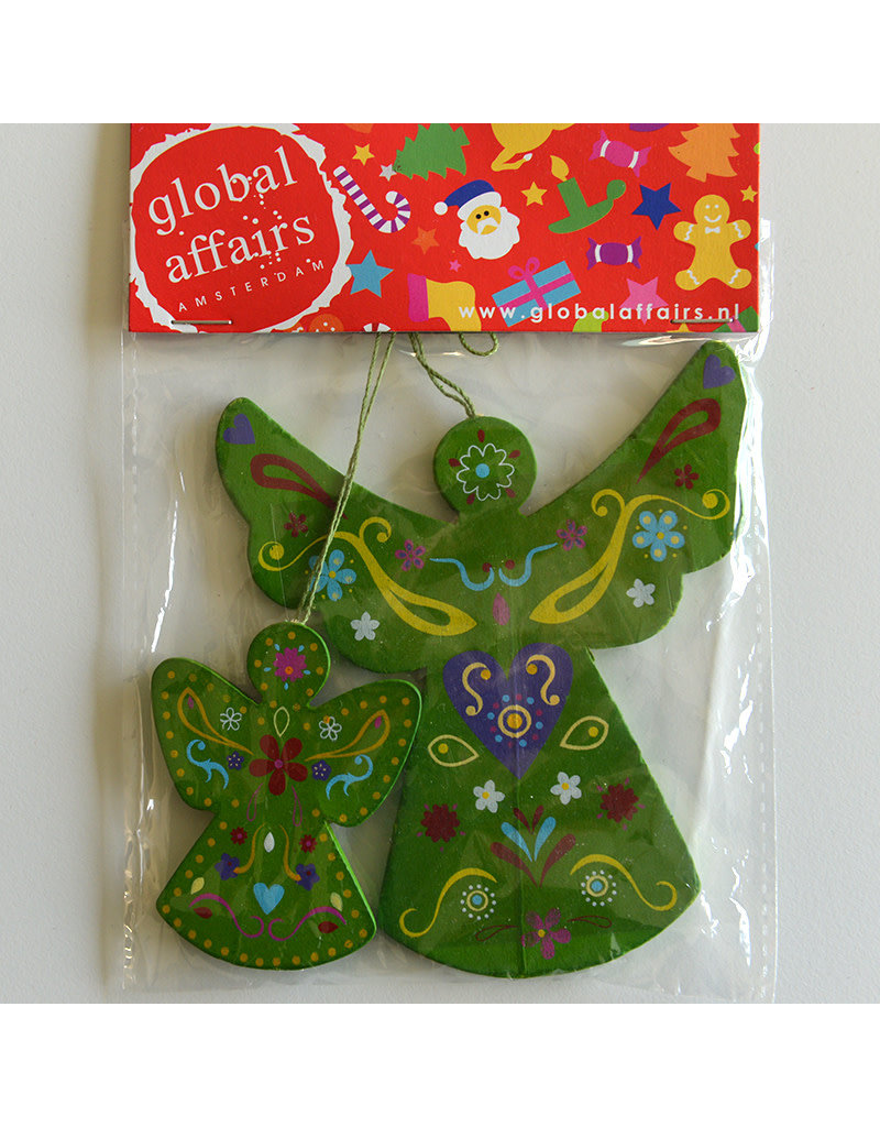 Global Affairs Global Affairs - houten hanger, engel, groen, 2 stuks