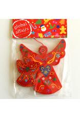 Global Affairs Global Affairs - houten hanger, engel, rood, 2 stuks